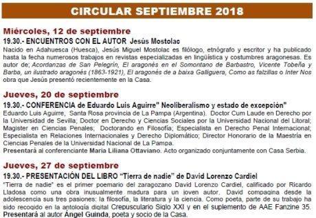 Circular de septiembre de 2018