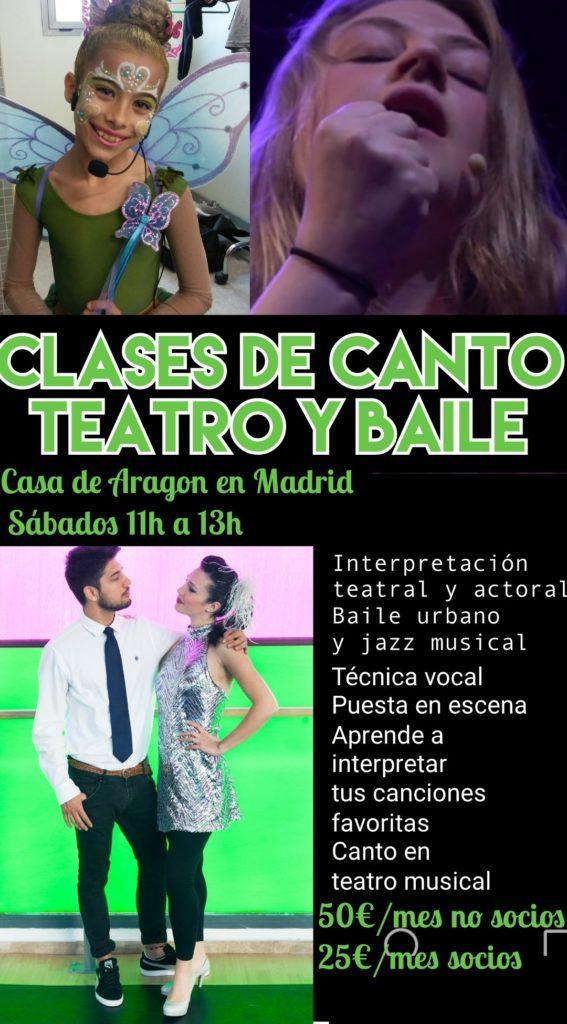 Clases de canto, teatro y baile